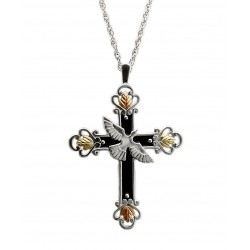Black Hill Gold on Sterling Silver Cross Pendant with Necklace