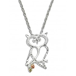 Black Hills 12K Gold on Sterling Silver Owl Pendant with Chain
