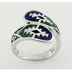 Southwestern Sterling Silver Ring with Mosaic Inlay