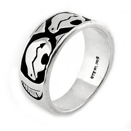 Southwestern Sterling Silver Ring with Bear