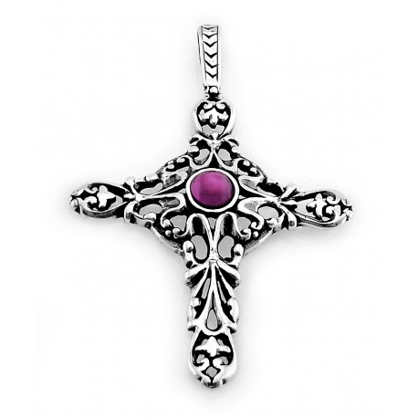 Sterling Silver Cross Pendant with Amethyst