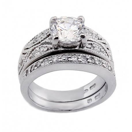Sterling Silver Ring Set with 7MM Cubic Zirconia