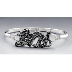 Sterling Silver Bangle Bracelet with Dragon