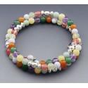 Southwestern Sterling Silver Memory Wire Gemstone Bracelet