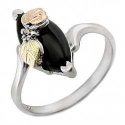 Black Hills Sterling Silver and 12K Gold Ring with Onyx