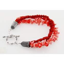 Southwestern Coral and Sterling Silver Toggle Bracelet