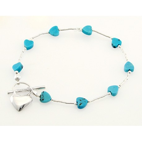 Southwestern Heart Turquoise and Sterling Silver Toggle Bracelet