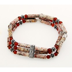 Southwestern Gemstone and Sterling Silver Stretch Bracelet