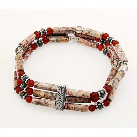Southwestern Gemstone and Sterling Silver Stretch Bracelet