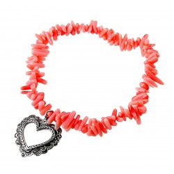 Pink Coral Stretch Bracelet with Sterling Silver Heart Charm