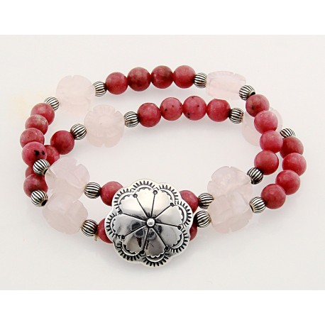 Southwestern Stretch Rhodonite, Rose Quartz Bracelet with Sterling