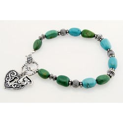 Sterling Silver and Turquoise Toggle Bracelet with Heart Charm