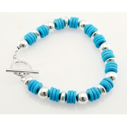 Southwestern Sterling Silver and Turquoise Toggle Bracelet