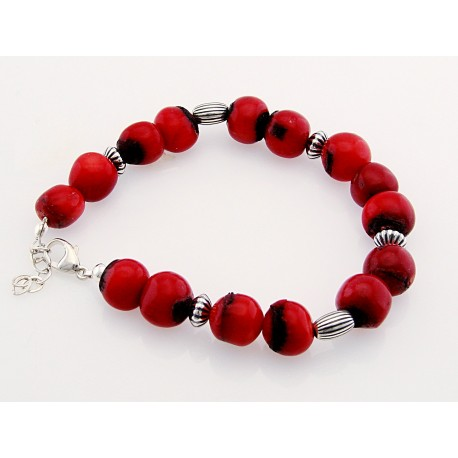 Southwestern Coral Bracelet with Sterling Silver