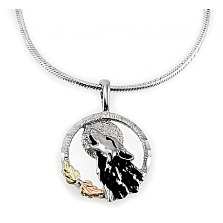 Black hills gold on sterling silver wolf pendant with chain black hills sterling and 12k gold wolf pendant with necklace aloadofball Choice Image