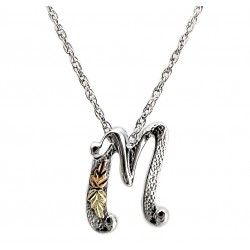 Black Hills 12K Gold on Sterling Silver M Letter Pendant - Initial Pendant