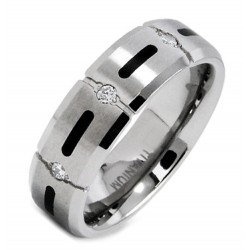 Titanium Wedding Band Ring with CZ