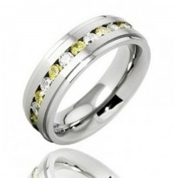 Titanium Band Ring with Clear and Yellow CZ