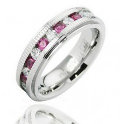 Titanium Band Ring with Clear and Pink CZ
