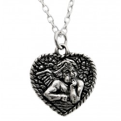 Sterling Silver Angel in Heart Pendant with Chain