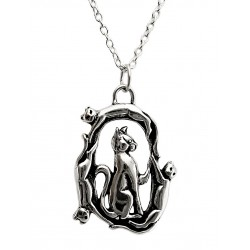 Sterling Silver Playing Cats Pendant with Chain