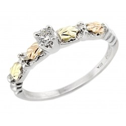 Black Hills Gold Sterling Silver and 12K Gold Ring with CZ