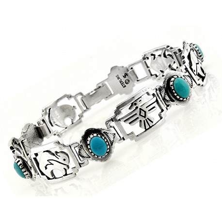 Southwestern Sterling Silver Bracelet with Turquoise