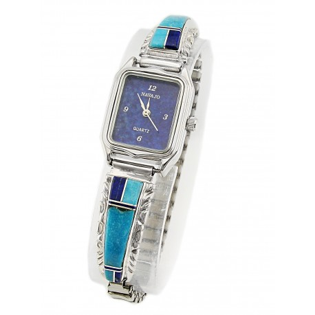 Southwestern Sterling Silver Watch with Gemstones