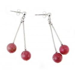 Liquid Sterling Silver Earrings with Rhodonite