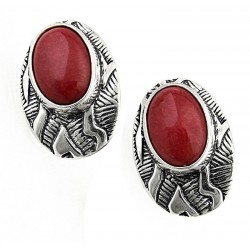 Southwestern Sterling Silver Earrings with Red Agate