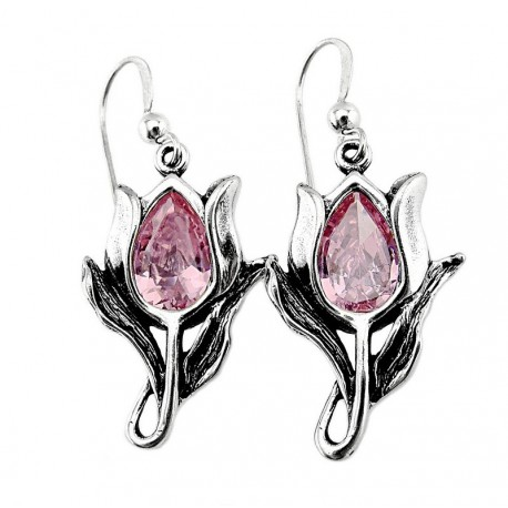 Sterling Silver Tulip Earrings with Crystal