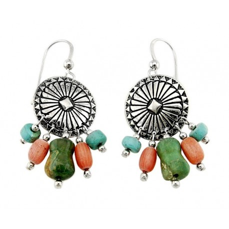 Southwestern Sterling Earrings with Turquoise and Coral