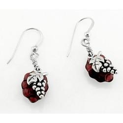 Sterling Silver Synthetic Amethyst Grape Earrings