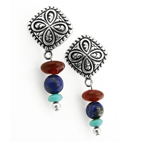 Southwestern Sterling Silver Gemstone Earrings