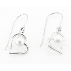 Sterling Silver Heart Earrings with Pearl