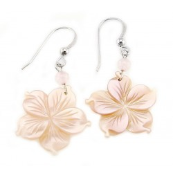 Sterling Silver and Mother of Pearl Flower Earrings