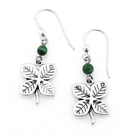 Sterling Silver Clover Earrings with Malachite