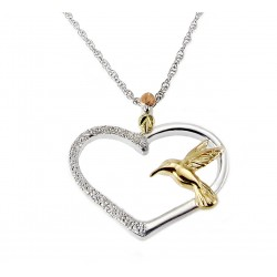 Black Hills Gold and Sterling Silver Heart Pendant with Hummingbird