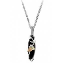 Black Hills Gold on Silver Onyx Pendant With Necklace