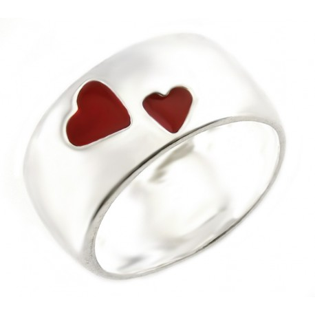 Sterling Silver Band Ring with Red Hearts