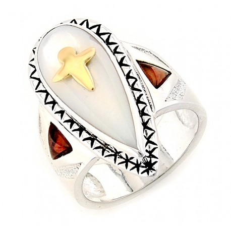 Southwestern Sterling Silver Ring with Mother of Pearl and 14K Dragonfly
