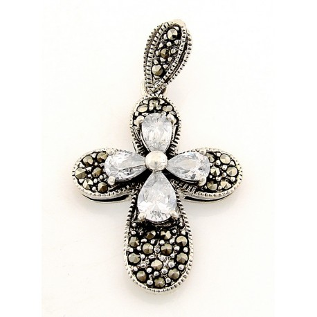 Sterling Silver Marcasite Cross Pendant with CZ