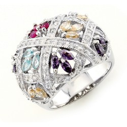 Sterling Silver Cocktail Ring with Cubic Zirconia