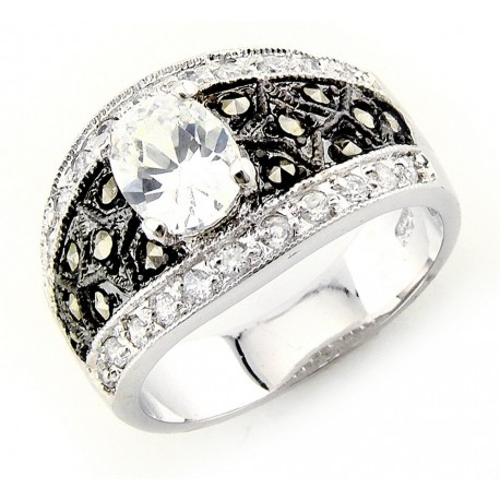 Sterling Silver Marcasite Ring with Cubic Zirconia