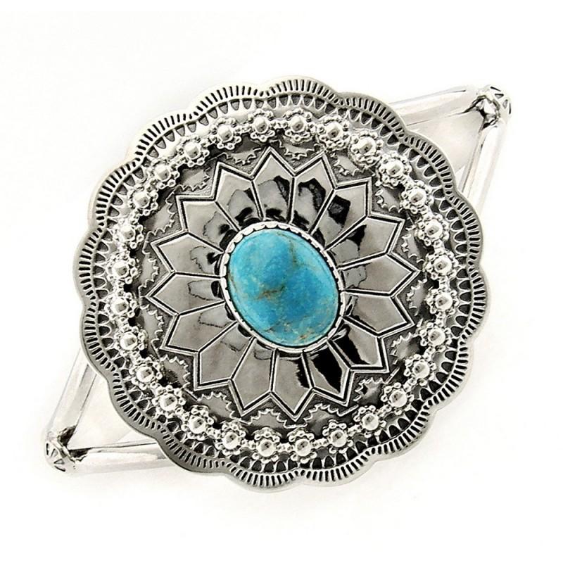Southwestern sterling silver cuff bracelet with turquoise for Southwestern silver turquoise jewelry