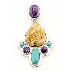 Southwestern Sterling Silver Pendant with Gemstones