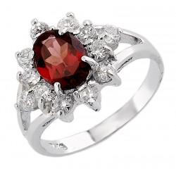 Sterling Silver Garnet Ring with CZ