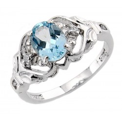 Sterling Silver Blue Topaz Ring with CZ