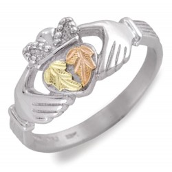 Black Hills Gold on Sterling Silver Claddagh Ring