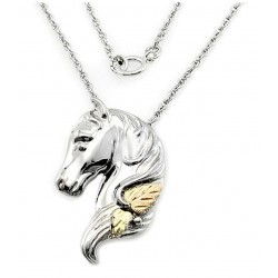 Black Hills Gold on Sterling Silver Horse Pendant with Chain